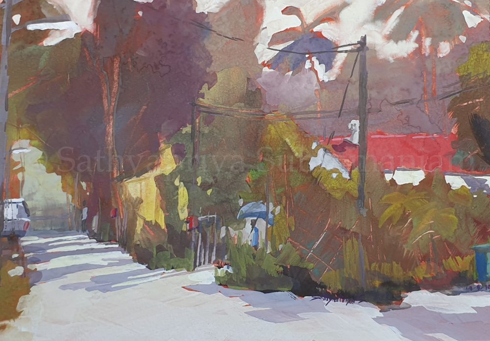 Kampong Buangkok, Singapore village painting-May2019