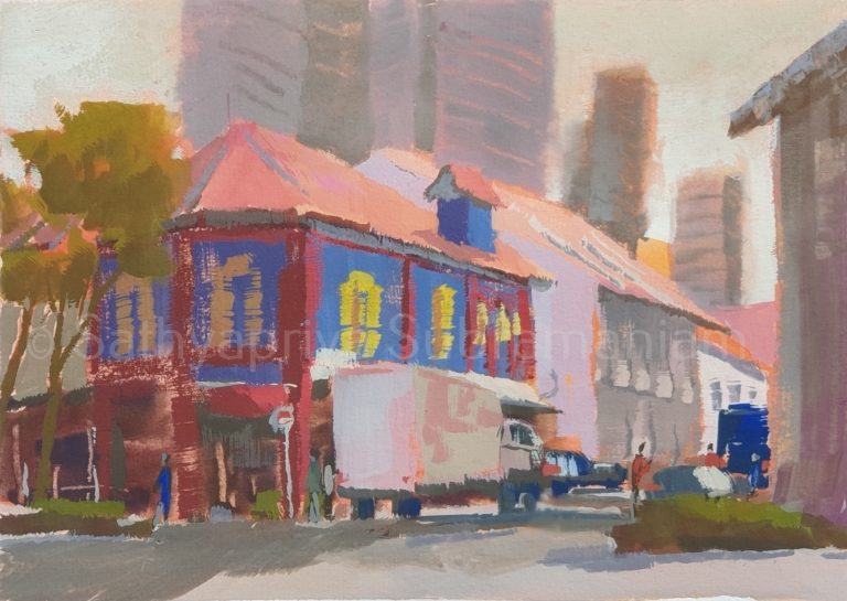 My gouache sketch at Race Course Road, Little India, Singapore