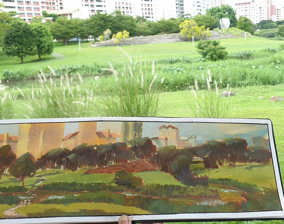 2 Hour on-location Gouache sketch at Bishan park