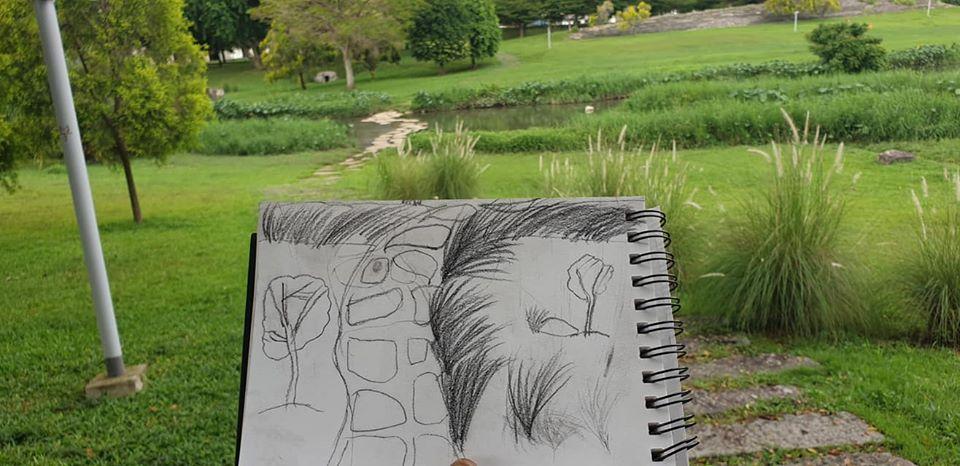 My 7 yr old daughter's sketch at Bishan park