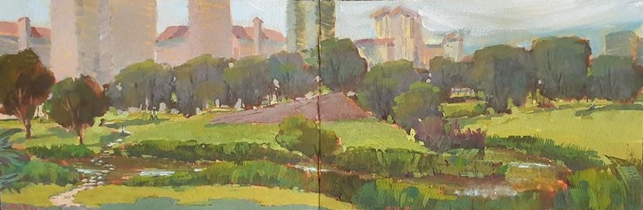 On location panoramic sketch of Bishan Park landscape in Gouache