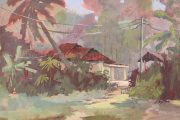 Kampong Buangkok, Singapore village painting-Sep2019