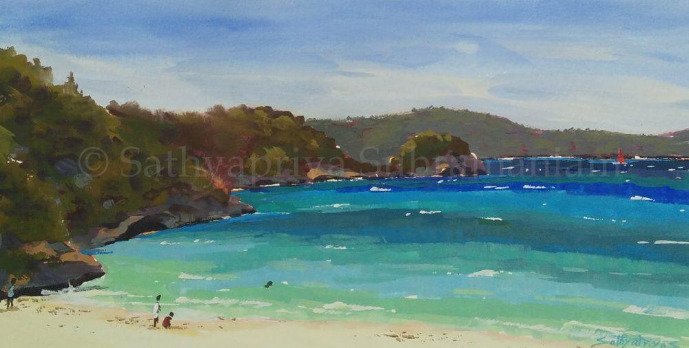 Boracay beach Philippines, gouache painting-2