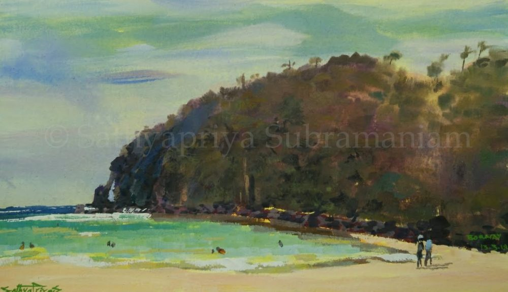 Boracay beach Philippines, gouache painting-1